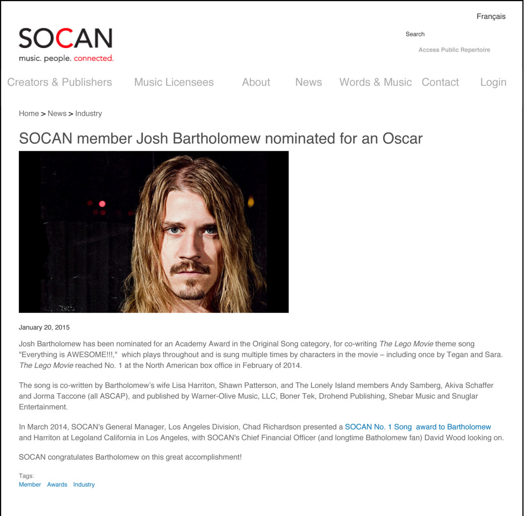 SOCAN member Josh Bartholomew nominated for an Oscar